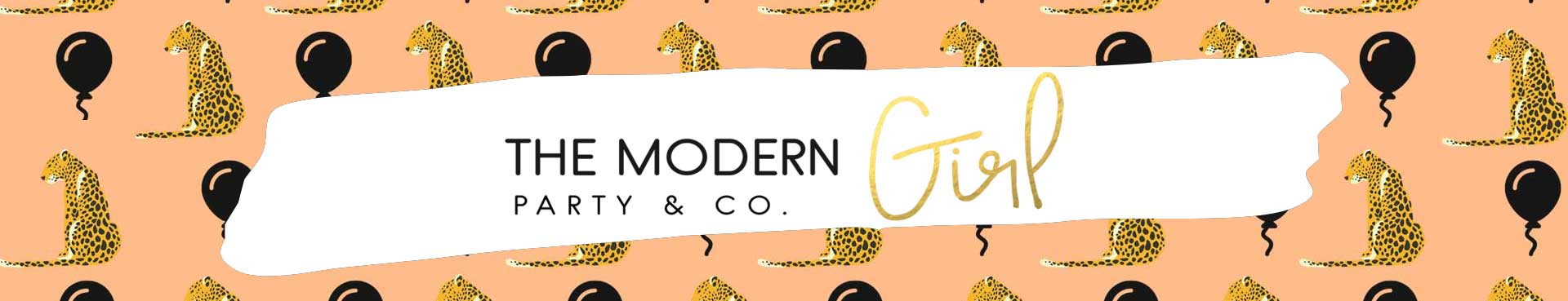 The Modern Girl Party Logo with Balloons and Leopards background